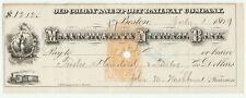 1869 Old Colony & Newport Railroad Company Check Massachusetts National Bank