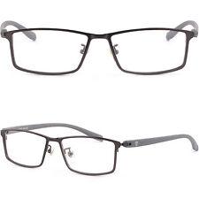 Leicht Herren Rechteckig Brille Metal Brillengestell Titan Fassung Vollrand Grau