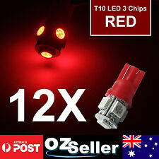 12PCS T10 5050 5SMD Red LED Car Light Wedge Side Tail Bulbs Super Bright DC12V