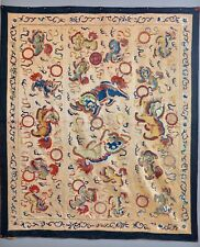 EXTRAORDINARY !! ANTIQUE 19TH CENTURY FOO LIONS CHINESE SILK TAPESTRY EMBROIDERY