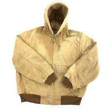Vintage Carhartt Work Jacket Sun Faded Distressed Grunge Mens Large Made USA
