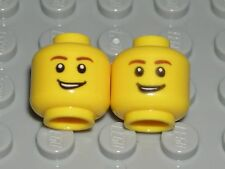 LEGO 2 CITY MINIFIGURE HEADS Yellow Male Brown Eyebrows Smile