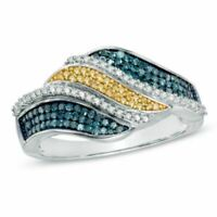 1/2 Ct Enhanced Blue Yellow and White Diamond Waves Ring in 9K White Gold -IGI-