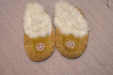 Vintage Tanned Hide White Fur Beaded Childrens Moccasins