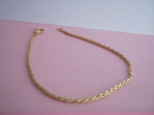GOLD METAL ROPE  BRACLETE THIN MIXED METALS SIZE 8.5 INCH