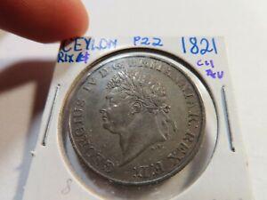 P22 British Ceylon 1821 Elephant Rixdollar Choice AU