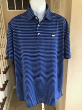 NWOT Masters Tech Golf Polo Shirt Stretch Blue White Augusta Chest Logo L