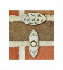 Elegant No Soliciting Sign Doorbell Sign Stainless Steel color - FREE SHIPPING