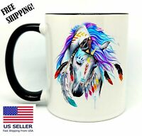 Art Spirit Horse,Birthday, Christmas Gift , Black Mug 11 oz, Coffee/Tea