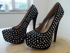 "Bebo Black 6.25"" Extreme Heel Party Platform Courts With Studs Size UK 3 BNIB"