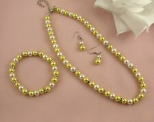 YELLOW & CREAM GLASS PEARL RHINESTONE CRYSTAL RONDELL NECKLACE SET  & BRACELET