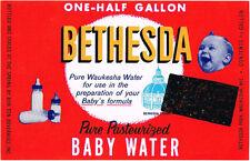 Ha!!  Original 1960s Bethesda Baby Water from Waukesha label Tavern Trove Unused