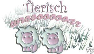 Ohrstecker * LÖWE * Ohrringe Emaille rosa weiss TRAUM