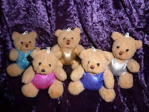 Small TEDDY BEAR wearing a gymnastic LEOTARD on KEYRING