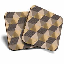 2 x Coasters - Gold Art Deco Geometric Fun Home Gift #2455