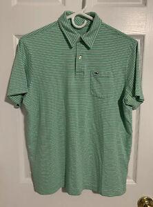 Vineyard Vines Boys Polo Size XL 18 Shirt White Green Striped Front Pocket