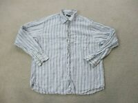 J Crew Button Up Shirt Adult Large Blue White Striped Long Sleeve Casual Mens
