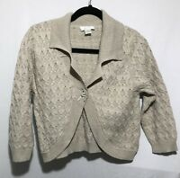 Christopher & Banks Womens Size Small Tan Short Button Cardigan Sweater
