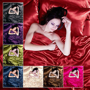 Satin 6pcs Silky Bedding Set Queen/King Duvet Cover Fitted Sheet & 4 Pillowcases