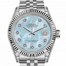 Rolex Oyster Perpetual 36mm Datejust Baby Blue Mother Of Pearl Diamond Dial & Lu