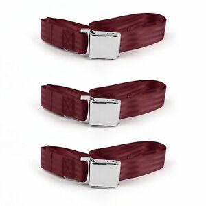 Ford Falcon 1960 - 1963 Airplane 2pt Burgandy Lap Bench Seat Belt Kit - 3 Belts