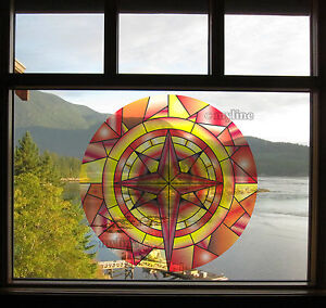 Decorative window film stained glass style removable & repositionable 021F DIY