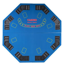 """Blue Octagon 48"""" 8 Player Four Fold Folding Poker Table Top & Carrying Case"""