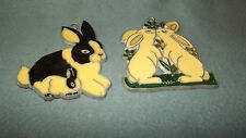 Kissing Bunnies Stained Glass SunCatcher Christmas Ornament Lot of 2 NEW U812 13