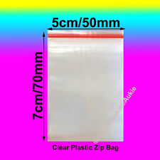 100 x Resealable Plastic Bags Zip Lock Reseal Ziplock Clip 50x70MM/5x7CM Bag