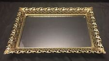 Vintage Mirror Or Vanity Tray Rectangle 13 X 9 Brass Gold Tone