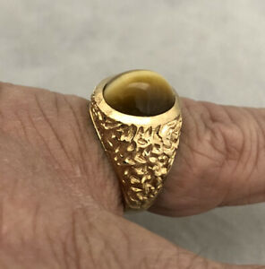 WOW!! 1970s VINTAGE ESTATE 14K YG MENS TIGEREYE NUGGET PINKY RING