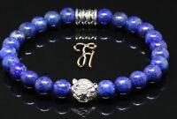 Lapislazuli blau - silberfarbener Tigerkopf - Armband Bracelet Perlenarmband 8mm