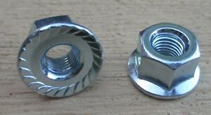 """5/16"""" Front Bicycle Hub Axle Flange Nuts Serrated 24tpi Chromed Steel 1 pr."""