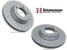 Porsche 911 Pair Set of Rear Left and Right Brake Disc Rotors Zimmermann Coat-Z