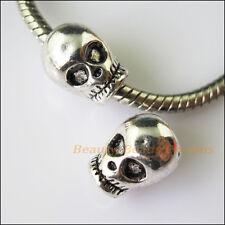 3Pcs Antiqued Silver Halloween Skull Spacer Beads fit European Charm Bracelets