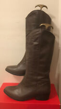 Emilio Luca X Size 5 (38) Brown Leather Below Knee Slip On Cowboy Style Boots.