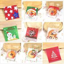 25pcs Christmas Bag Santa Claus Cellophane Gift Cookie Fudge Candy Self Adhesive