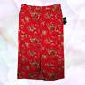 Sag Harbor Womens Large Maxi Skirt Red Floral Print Modest Front Slit Pockets