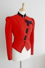 MANSFIELD red military jacket hourlgass 1930's 40's style 80's wool riding 14