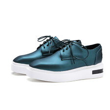 Womens Square Toe Lace Up Platform Creepers Shoes Oxfords Casual Preppy Sneakers
