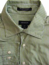 GANT Shirt Mens 15.5 M Green & White Check NEWPORT POPLIN REGULAR FIT