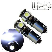 2 Ampoules 5 LED Blanc BA9s T4W Resistance Anti erreur ODB Veilleuses Habitacle
