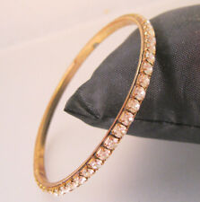 "Vintage Rhinestone Bangle Bracelet 2 11/16"" Diameter Vintage Jewelry"