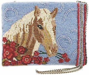 MARY FRANCES Buck Up Horse Blue Beaded Clutch Bag Handbag Purse Spring 18 New