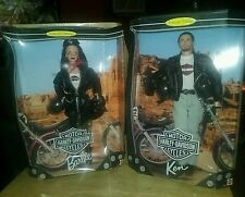 1998 collector edition barbie # 3 & ken #1 harley davidson (2) dolls