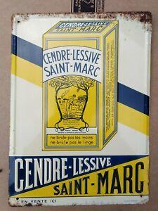 Ancienne tôle plaque publicitaire non émaillée st marc lessive Andreis