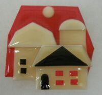House Pins by Lucinda Farmhouse Barn & Silo Farm Scene Brooch Pin