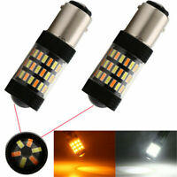 2X 1157 Switchback White Amber Dual Color LED Bulb Turn Signal Light+Resistors