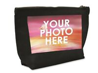 PERSONALISED ADD PHOTO BLACK MAKE UP ACCESSORY WASH BAG PICTURE GIFT PHOTO