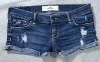 Hollister Low Rise Cuffed  Destroyed Short  Denim Blue Jean shorts size 1 25